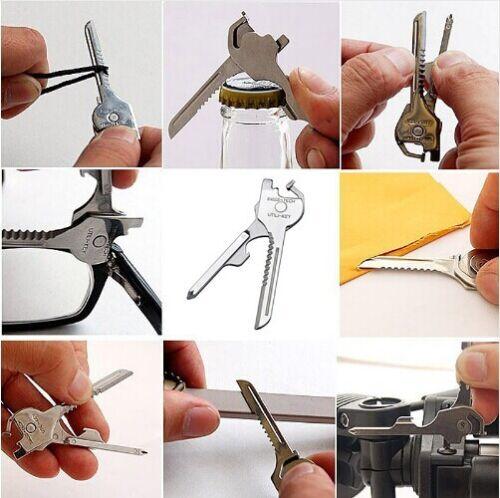 6-in-1 Utili Key Tool Keyring Keychain Multifunktion Rostfrei Stee AHS