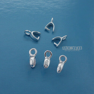 6PC Small Sterling Silver 7.8mm Pinch Bail Connector for Pendant/Earring #33315