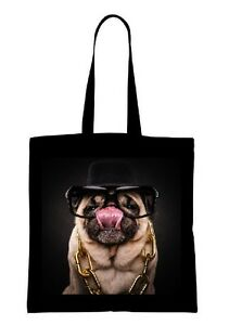 CRAZY MOPS PUG Einkaufstasche Tasche shopping bag 02 groß big schwarz black NEU