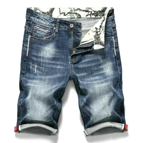 Summer Men Stretch Short Jeans Fashion Casual Slim Elastic Waist Ripped Denim