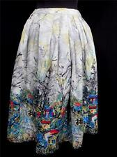 """RARE AUTHENTIC CLASSIC MONET STYLE FRENCH 1950'S COUNTRY SCENE SKIRT 26"""" WAIST"""