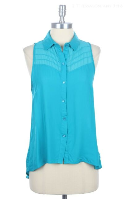 Pleated Detail Shoulder High Low Hem Sleeveless Button Down Shirt Blouse S M L