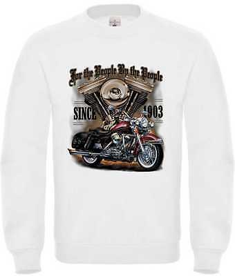 """Creativo Sweat Shirt In Bianco Con Un Biker-, Chopper - & Old School Modello Motivo For The P.--&old School Motiv Modell For The P."""" Data-mtsrclang=""""it-it"""" Href=""""#"""" Onclick=""""return False;"""">mostra Il Titolo Originale"""