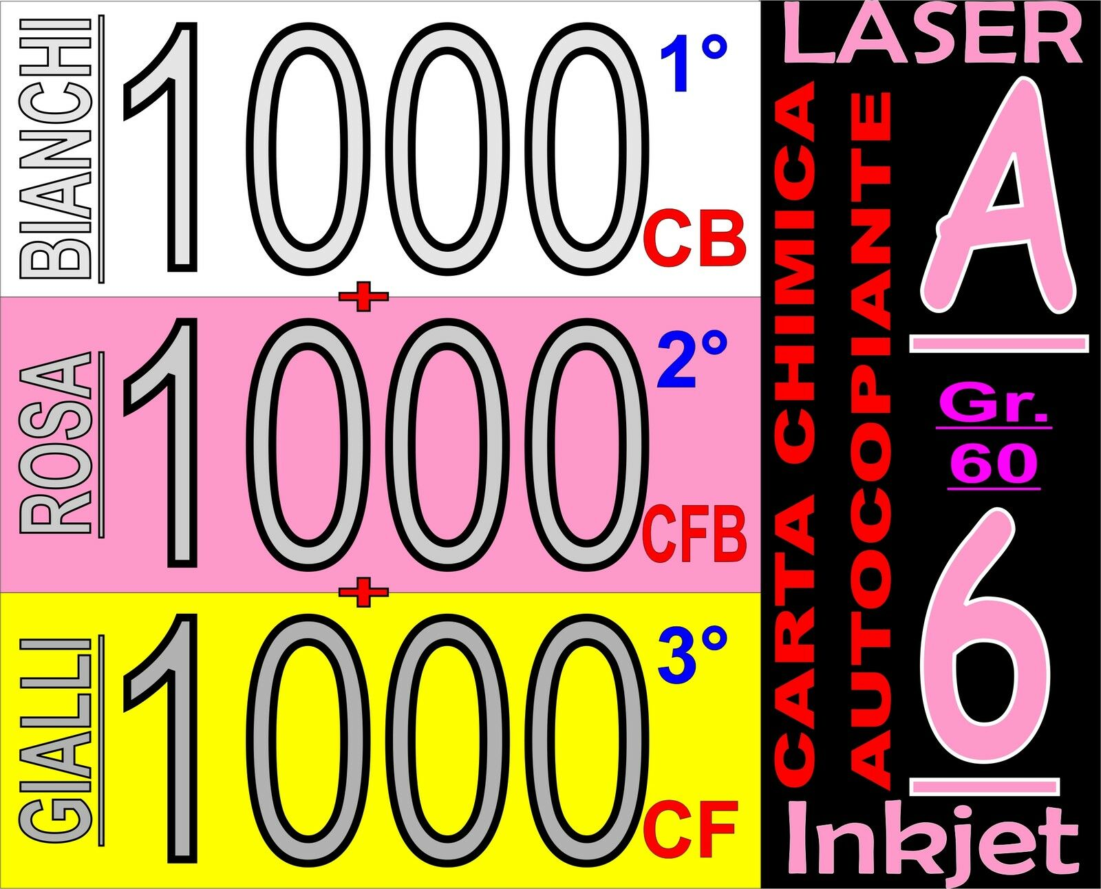250 FOGLI CARTA GIALLA DDT FATTURE CHIMICA X STAMPANTI LASER E INKJET F.TO A4