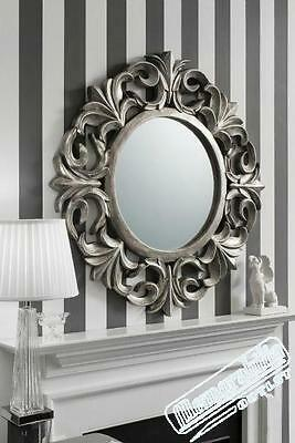 Large Silver Round Decorative Vintage Style Circular Wall Mirror 3ft3 (102cm)
