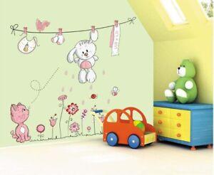 Kinder-Tiere-Wandsticker-Hase-Katze-Blumen-Wandtattoo-Wandaufkleber-Sticker