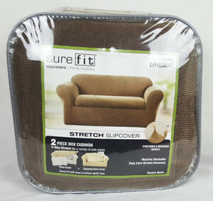 Sure Fit Stretch Metro Slipcover 2 Piece Box Cushion Loveseat Brown Ebay