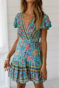 Evening-dress-sundress-party-summer-maxi-cocktail-beach-short-Women-039-s-floral