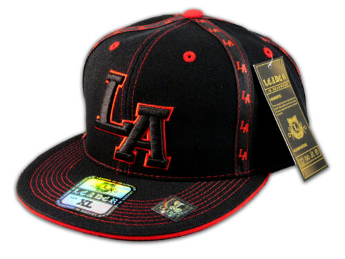 LA Los Angeles Fitted Hat on Black Red Flat Brim Hip Hop Hat