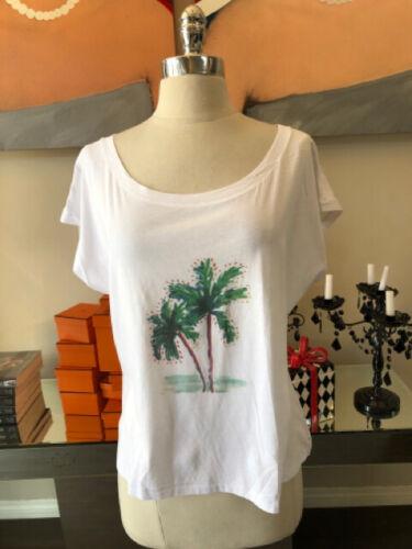 Monsieur Stindel Size S White Green Palm Trees T-s