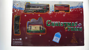 CHRISTMAS-TOY-TRAIN-SET-32-Pieces-88cmx66cm-TRACK-STATION-amp-TREES-4-XMAS-TREE