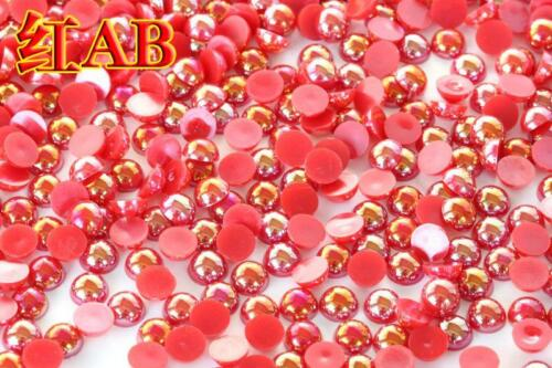 2-8mm AB color Half Pearl Round Bead Flat Back Scrapbook for Craft FlatBack #03