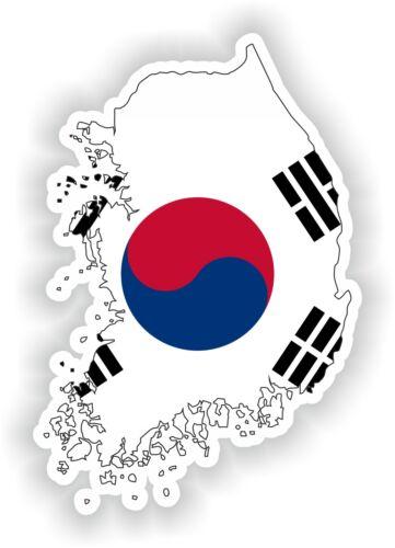 Sticker Silhouette South Korea Map Flag for Bumper Skateboard Locker Tablet