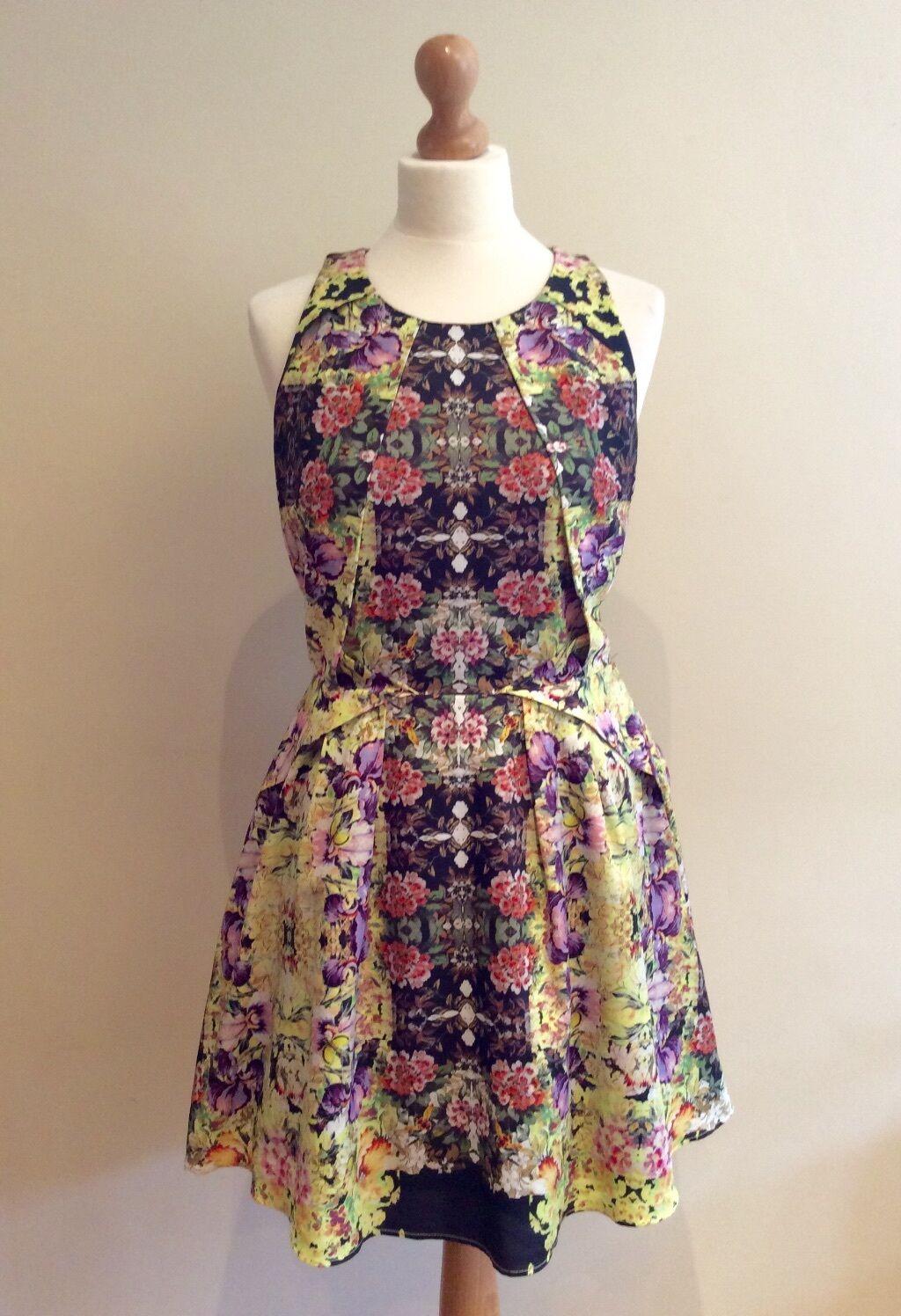 TOPSHOP Gelb FLORAL DRESS Größe 12