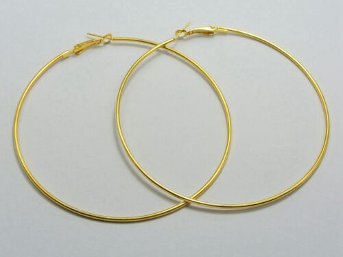"""3.1/"""" 20 Golden Plated Large Round Hoop Earring Hook 80mm Earring Making Finding"""