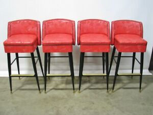 Set Of 4 Exceptionally Clean 1950s Bar Chairs By Brody