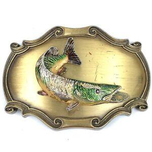 Vintage-1978-Raintree-Pike-Fish-Fishing-Belt-Buckle-Rare-70s-3-5