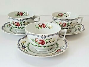 """Copeland Spode """"Avondale"""" Cups and Saucers; #637555 (3 sets)"""