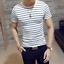 Men-Stylish-Tee-Slim-Fit-Striped-T-shirts-Casual-Shirt-Fashion-Short-Sleeve-Tops thumbnail 3