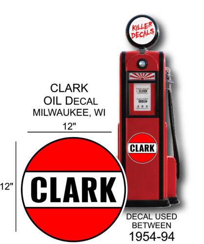 "GAS PUMP LUBSTER 12/"" 1954-94 CLARK GASOLINE VINYL DECAL OIL CAN"