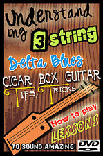 Cigar Box How to Play guitar Lessons DVD Slide / dobro & 3 string Resonator
