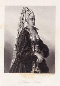 Portrait-034-Koenigin-Isabeau-034-Stst-von-H-Merz-nach-Fr-Precht-ca-1858