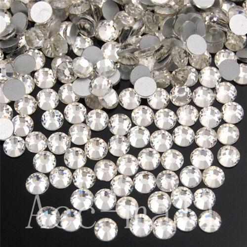 2880//7220pcs 20//50Gross Crystal Clear Non Hotfix Rhinestone Nail Art Top Quality