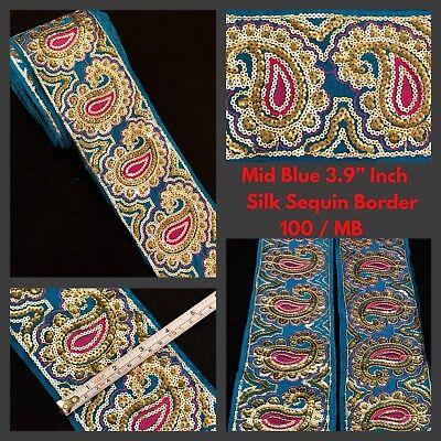 2 Yards Silk Green Indian Saree Border SewOn Sequins Zari Embroidery 7.5cm Trims