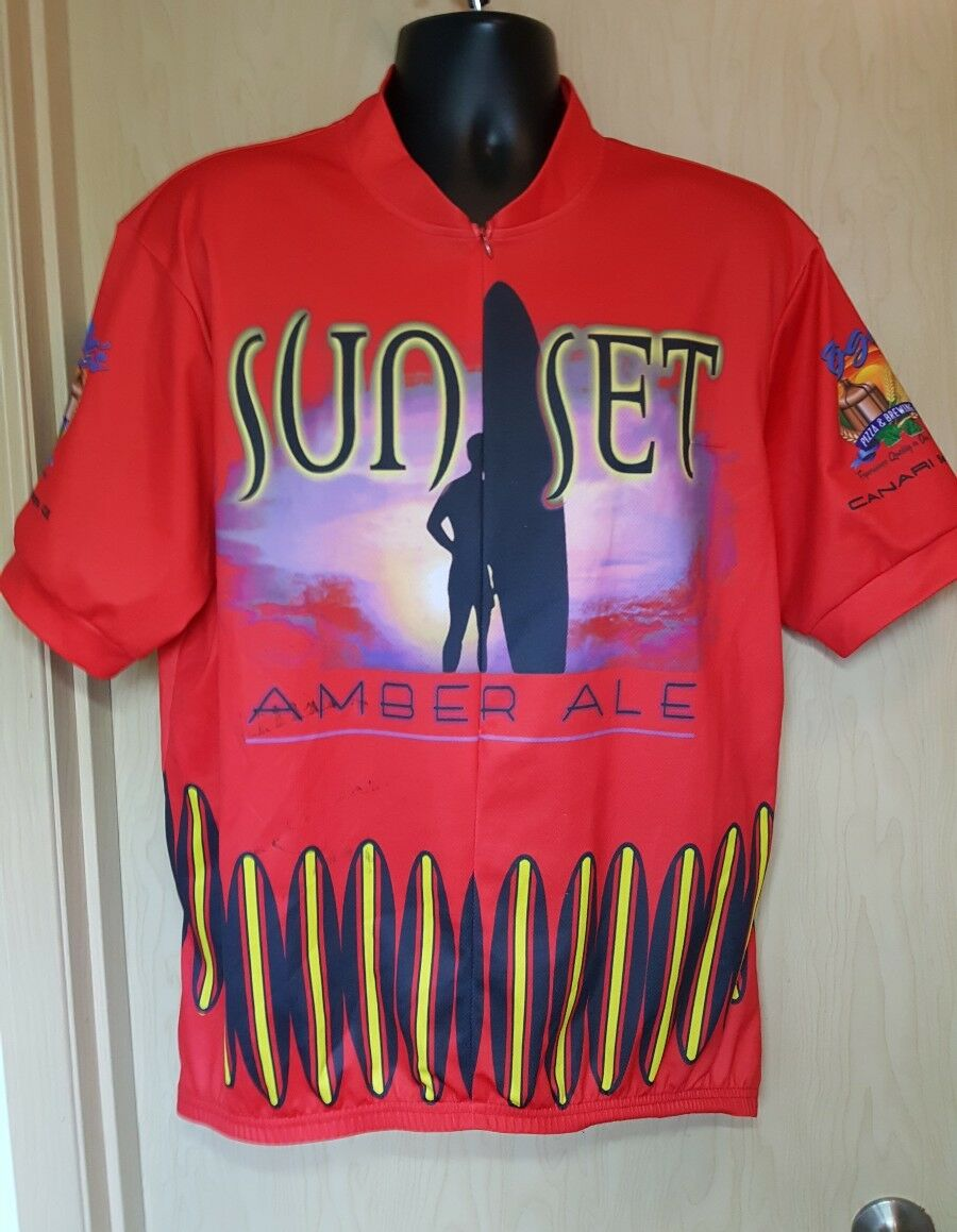 Sunset Amber Ale Red Cycling Shirt XXL Canari Oggi's Pizza San Diego Surfboards