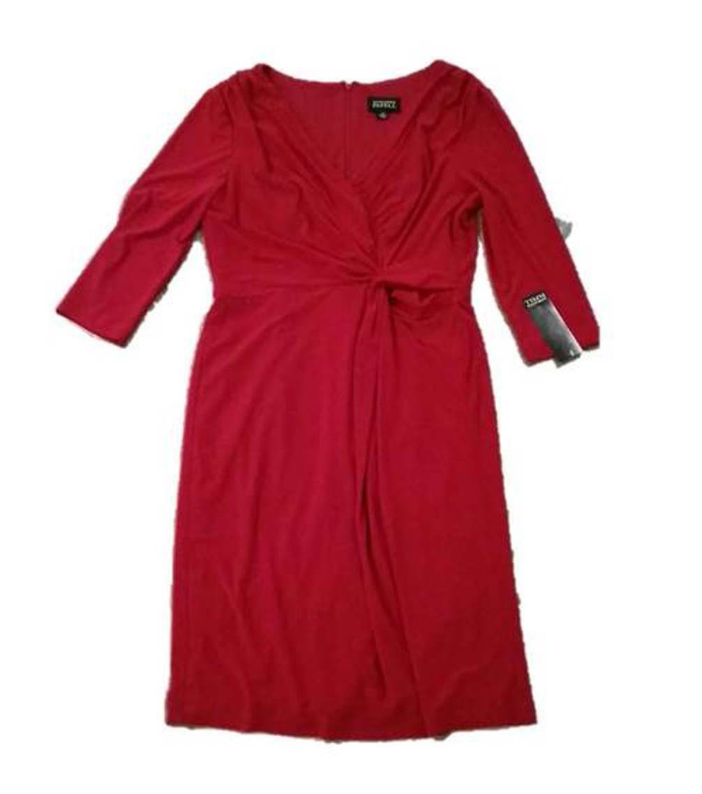 140 ADRIANNA PAPELL Front Twist DARK RED Dress ( 12 ) Free Shipping