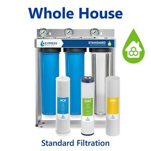 Whole House Water Filter – 3 Stage Home Water Filtration System – w/ Gauges