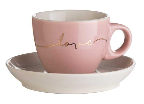 Tasse Espressotasse mit Unterteller 2-teilig Knochenporzellan Rosa LOVE 100 ml