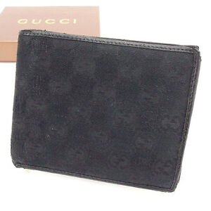 7c9cda80aa4 Gucci Wallet Purse Bifold G logos Black Woman unisex Authentic Used ...
