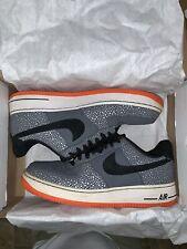 Nike Air Force 1 Low Grey Black White Orange Safari Supreme 488298 079 Sz 10