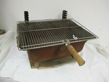 Vintage Cast Iron Rusty Hibachi Grill On Wood Stand