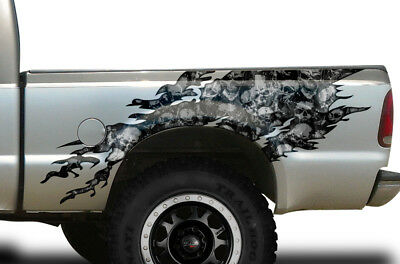 Torn Half Bed Graphic Kit Truck Decal Sticker Fits Ford F-250 1999-2006 SKUL GY
