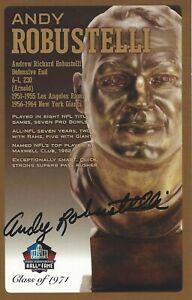 Andy Robustelli New York Giants  Football Hall Of Fame Autographed Bust Card