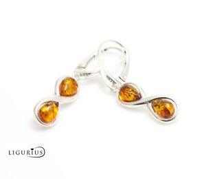 NATURAL BALTIC AMBER STERLING SILVER 925 Earrings Droop Dangle Certified /& BOX