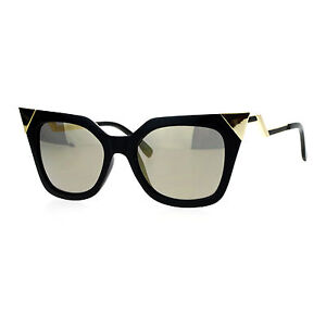 cd20d91b78967d Image is loading Womens-Square-Cateye-Sunglasses-Gold-Accent-Corner-Zig-