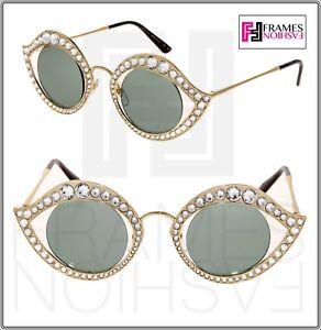 eaeadb8c6bc GUCCI CRYSTAL LIPS Stud 0046 Gold Green Metal Runway Glam Sunglasses ...