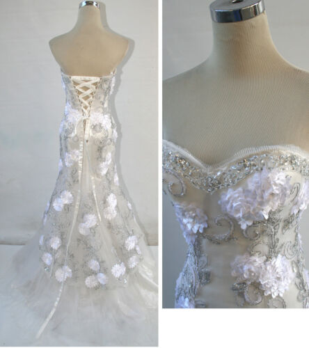 NWT RIVA DESIGNS R9450 White $598 Wedding Prom Gown 12