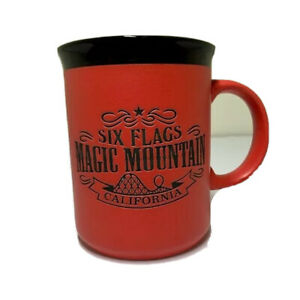 Six-Flags-Magic-Mountain-Coffee-Mug-Red-Black-Theme-Park-Cup-Kitchen