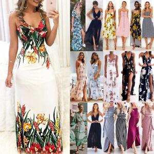 Summer-Women-Boho-Holiday-Strappy-Floral-Maxi-Beach-Sundress-Party-Long-Dress
