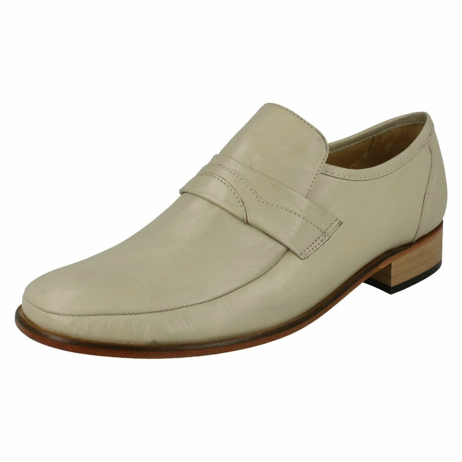 THOMAS BLUNT Swindon Mens Ivory Leather Slip on Shoe