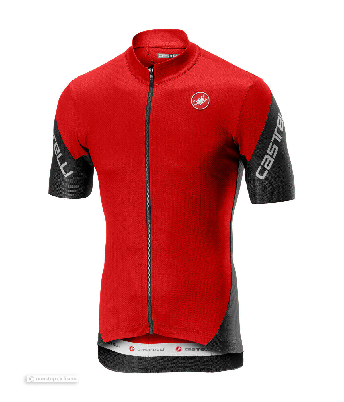 Castelli ENTRATA 3 Short Sleeve Full Zip Cycling Jersey   rot