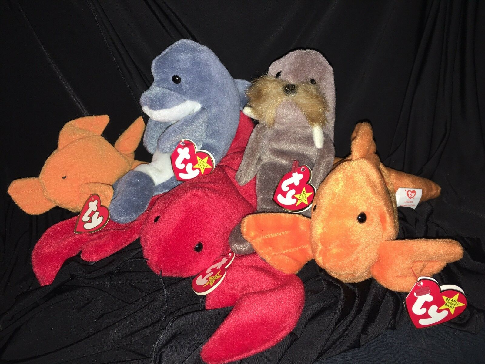 Group Of 4 Rare TY Beanie Babies. Jolly, goldie, Echo & Pinchers