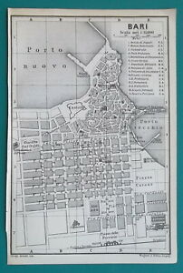 ITALY-Bari-City-Town-Plan-amp-Taranto-Environs-1883-MAP-4-x-6-034-10-x-15-5