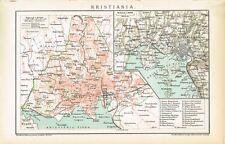 Karte OSLO / KRISTIANIA / OSLOFJORD 1894 Original-Graphik