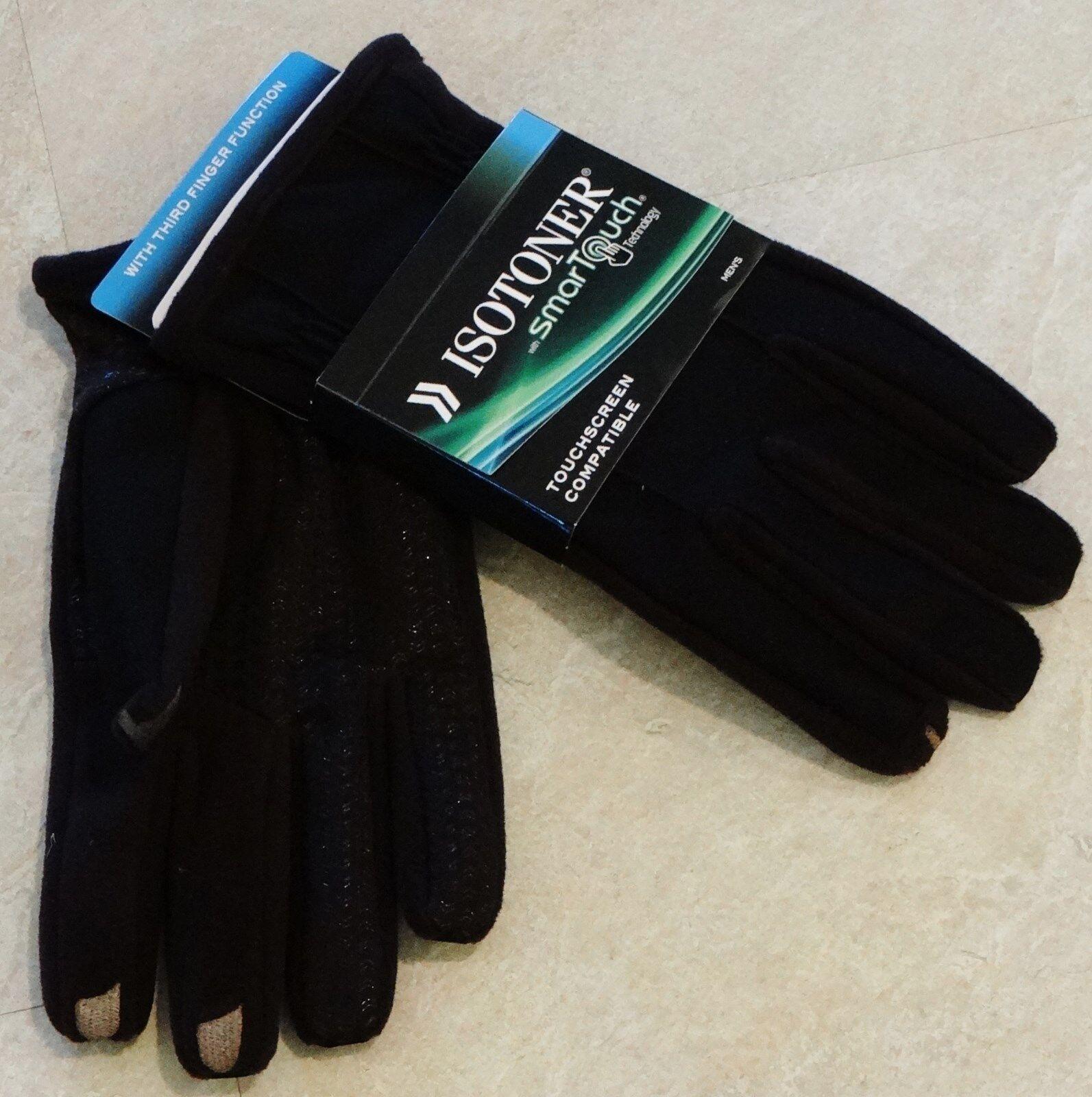 Men's Black ISOTONER Smart Touch Gloves: L