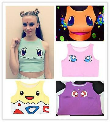 Women Girl's Sexy Cool Pokemon Pikachu Squirtle Sailor Moon Luna Tank Tee Top